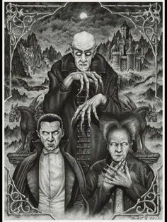 Mythical monsters, Transylvania vampires, undead villains, and werewolf legends are an important part of the Romanian folklore. Dracula is indeed the most well known Transylvanian vampire, a fictional character created by Bram Stoker. Horror Icons, Horror Comics, Vampire Art, Vampire Knight, Arte Horror, Horror Art, Gothic Horror, Horror Vintage, Comte Dracula