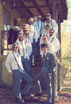 Brides.com: All Things Rainbow. The groomsmen can each wear a tie in a different color (and matching sunglasses if it's sunny out).