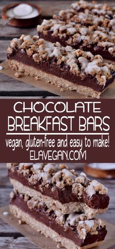 Recipes Snacks Bars These oat breakfast bars are vegan, gluten-free and easy to make. If you need a healthy inspiration for breakfast then check out this delicious recipe. These crumb bars contain mainly oats, bananas, and dates Vegan Dessert Recipes, Vegan Breakfast Recipes, Healthy Desserts, Gourmet Recipes, Delicious Desserts, Breakfast Bars Healthy, Healthy Recipes, Breakfast Ideas, Clean Eating Breakfast