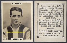 Alan Noble, winger for the mighty promotion Leeds United team of 1923, here on a very rare high number Pinnace card. His rookie card? EASY to buy, shipping (world) included. Just click here:  https://www.paypal.me/rarecards/34.37 #Leeds United Alan Noble 1923 Pinnace K high number 2437 frameline 1923 Godfrey Phillips football rookie card soccercard cigarette cards#Alan Noble#Leeds United#L.U.F.C.#1923#pinnace high number#2437#football trade card#soccer cards#cigarette cards