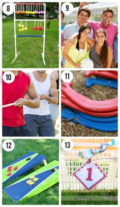 6 Classic Outdoor Games http://www.ardie-zign.com/Ladder_Golf/ladder_golf.html volley ball tug a rope horse shoes  http://www.thedatingdivas.com/cami/frisbee-golf-with-a-twist/