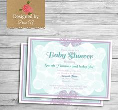 baby shower Invitation purple and teal lace baby shower Chiq lace baby shower printable elegant invitation bridal shower by DesignedbyDaniN from Designed by Danin. Find it now at http://ift.tt/2g3gkAf!