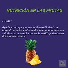Piña: Tiene vitaminas A, B1, B2, B3, B6 y C, yodo, magnesio, manganeso, fósforo, calcio, fibra, enzimas, y agua. #VitalidadFísica