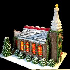 Gingerbread Church By Joanne Nichols Gingerbread House Candy, Gingerbread House Designs, Christmas Foods, Christmas Presents, Christmas Decorations, Dessert Illustration, Candy House, House Cake, All Holidays