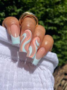 Bling Acrylic Nails, Acrylic Nails Coffin Short, Simple Acrylic Nails, Square Acrylic Nails, Cute Acrylic Nail Designs, Best Acrylic Nails, Simple Nails, Gel Nails, Long Nail Designs