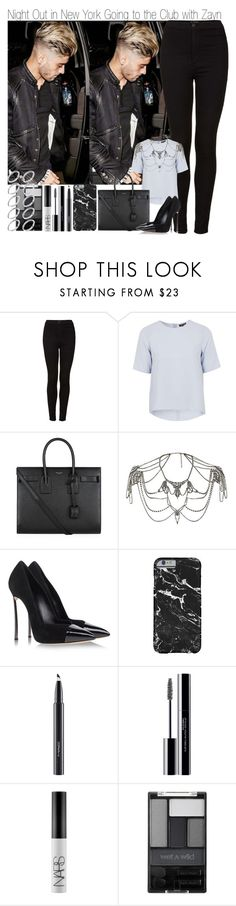 """""""Night Out in New York Going to the Club with Zayn"""" by elise-22 ❤ liked on Polyvore featuring Topshop, Yves Saint Laurent, Casadei, MAC Cosmetics, shu uemura, NARS Cosmetics, Wet n Wild and ASOS"""