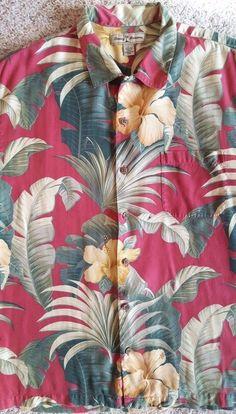 d34396431b TOMMY Bahama HAWAIIAN Shirt LARGE Silk MENS Size SZ Floral PALMS Multicolor  MAN