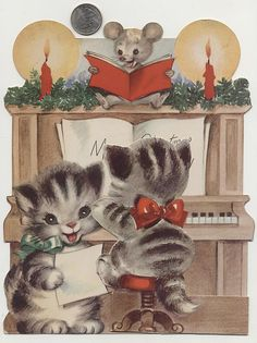 Darling vintage Christmas card with cats and a mouse at the piano.