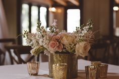 Vintage Centerpiece + Gold Mercury Glass | Vintage Southern Wedding at Magnolia Plantation Carriage House by Charleston Wedding Planner ELM Events