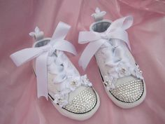 FLOWER Baby Girl Swarovski Converse White Leather for your wedding or for baby's Baptism or Christening. By angelareesestudio, $65.95   https://www.etsy.com/listing/154096163/flower-baby-girl-converse-white-leather