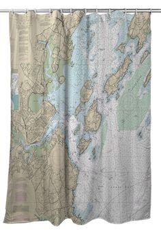 Me Portland Nautical Chart Shower Curtain