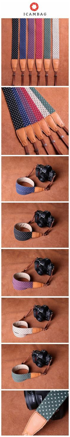 Cowboy Little White Dot Strap Handmade Leather DSLR Camera Strap in Brown CS081 Handmade with top layer cow leather and denim. It can fit almost every DSLR, SLR and some larger digital cameras. ******