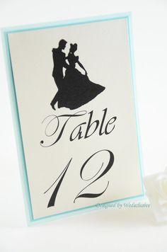 Cinderella Table Numbers, Disney theme weddings, Fairy tale Weddings , Princess Weddings, 4x6 - Set of 10