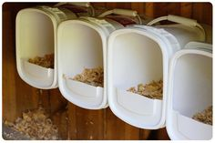 Saw this on FB from the 'wandering chicken and mini farm' page. Nesting boxes made from possibly kitty litter buckets! Repurposing at it's best - again I'm not at all surprised at the genius of everyone who thinks about how to reuse something. This is a great idea if you have something to reuse and don't know or have the tools to build their nesting boxes out of wood!