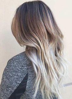 Beige Blonde Balayage on Dark Brown Hair