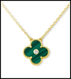 Van Cleef and Arpels Vintage Alhambra pendant in yellow gold with malachite and diamond. Via Diamonds in the Library's jewelry gift guide.