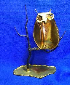Mid Century Metal & Cooper Owl on Tree Figure Attribute of Curtis Jere Raindrops