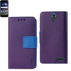 Reiko ZTE Grand X3 Wallet Case 3 In 1 Purple With Interior Leather Like Material And Polymer Cover