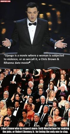 Equal respect for Seth for making that joke and to Robert Downing Jr for being the ONLY one to clap <3
