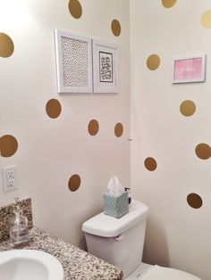 gold polka bathroom walls