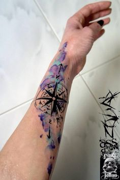 arm tattoo, art, colorful, compass, cool, hand tattoo, pretty, tattoos, unique, watercolor