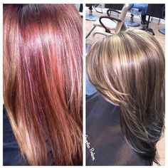 From a faded out red color transformed into a beautiful, naural highlight lowlight combo done by Emily at Aurelio Salon of Howell, NJ