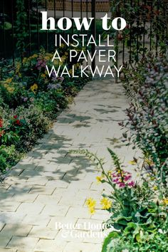 This DIY paver walkway provides a clean and attractive route through the yard. Concrete pavers offer a wide range of colors and patterns, are easy to install, and are relatively inexpensive #walkwayinstallation #gardenwalkway #landscaping #gardenideas #paver #bhg
