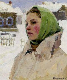 Portrait of a Woman 1959 | Serafim L Frolov | Oil Painting #russianimpressionists