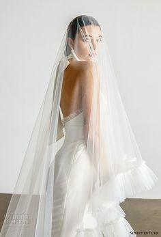 sebastien luke spring 2019 bridal halter high neck simple minimalist modern ankle jumpsuit wedding dress with veil open back chapel train (4) zbv  -- Sébastien Luke Spring 2019 Wedding Dresses   Wedding Inspirasi #wedding #weddings #bridal #weddingdress #bride ~