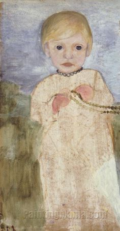 Paula Modersohn-Becker - German Expressionism - Mieke Vogeler with pearl necklace Paula Modersohn Becker, Painting For Kids, Art For Kids, Ludwig Meidner, Female Painters, Art Japonais, Art Station, Vintage Artwork, Amazon Art
