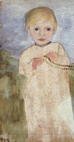 Mieke Vogeler mit Perlenkette - Paula Modersohn-Becker