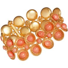 Olivia Collings Antique Jewelry Coral Bobble Etruscan Bracelet (186.740 RUB) ❤ liked on Polyvore featuring jewelry, bracelets, accessories, clothing & accessories, women, 18k bangle, 18 karat gold jewelry, coral jewellery, coral bangle and coral jewelry