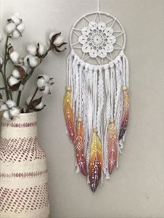 Sunset Dream Catcher with Hand Painted Feathers