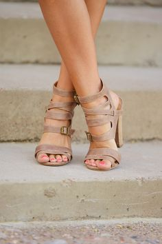 Wrapped Up In You Heels - Taupe from Closet Candy Boutique
