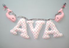 Items similar to Fabric letters BIG pink and gray, name banner with pink whale ornaments, Fabric name banner, Nursery decor, free felt whale ornaments on Etsy Fabric Letters, Fabric Bunting, Fabric Names, Bunting Banner, Nursery Banner, Nautical Nursery, Nursery Decor, Letter Ornaments, Baby Ornaments