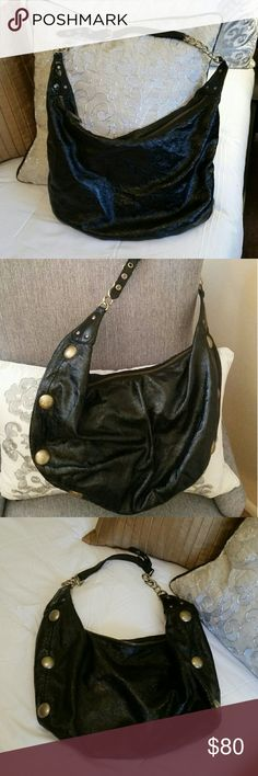 """🔥FLASH SALE!🔥 Patent Leather Hobo Bag 🔥Flash Sale!🔥 Cynthia Rowley patent leather hobo bag. Brass circular details on both sides and on bottom. Chain link handle. Interior has one zippered pocket (pics 5 & 6) and 2 smaller open pockets (pic 7). Fabulous condition!! You'll love this beautiful large hobo bag! 18"""" long by 12.5"""" high. Reasonable offers will be accepted!! 😉 Cynthia Rowley Bags Hobos"""