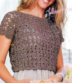 Crochet Pattern, diagram: mini blouse on top crochet