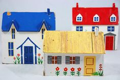 vintage naive painted wooden houses