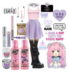 """updated pastel goth"" by bandgirling13 ❤ liked on Polyvore featuring Hot Topic, Demonia, Crazy Color, Urban Decay and Stila"