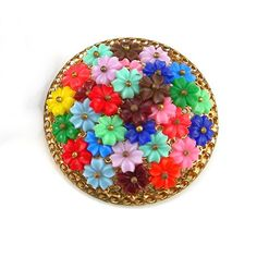 """Art Deco 2"""" Brooch Plastic Colorful Flowers Handwired to Goldtone Mesh Backing Vintage 1930s Costume Jewelry Haskell Style"""