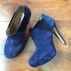 INC blue booties Adorable shoes in that perfect blue color! Comfy and classic. Barely worn. Open to offers. No trades. INC International Concepts Shoes Ankle Boots & Booties