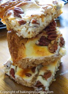 Blondies with Cream Cheese Swirl and Pecans