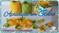 Flor, folha, botão e borboleta para Aplicação em Crochê . Por Vanessa ...