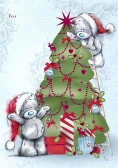 E Christmas Tatty Teddy . Christmas Teddy Bear, Noel Christmas, Christmas Images, Winter Christmas, Vintage Christmas, Christmas Crafts, Christmas Nativity, Tatty Teddy, Christmas Clipart