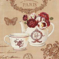 Stefania Ferri Poster Print Wall Art Print entitled Parisian Flowers II, None Decoupage Vintage, Decoupage Paper, Vintage Diy, Vintage Images, Wall Art Prints, Fine Art Prints, Poster Prints, Art Floral, Collages D'images