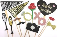 Wedding Photo Props / Bridal Shower Props / Bachelorette/ Team Bride/ Team Groom Props/ Photo Booth by GreatCrafternoon on Etsy https://www.etsy.com/listing/287050341/wedding-photo-props-bridal-shower-props