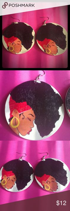 Beautiful Lady Africa Wooden Earrings Natural Wood; 6cm in size; drop earrings; double sided Natural Tree Jewelry Earrings