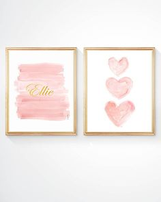 Blush and Gold Nursery Art, Set of 2 - 8x10 Watercolor Prints