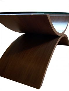 Large Coffee Table, Contemporary Wooden Curves And Glass Top. Traditional  Craftsmanship, Modern Design