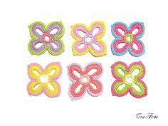 Crochet flower appliques Set of 6 crochet flower by CreArtebyPatty